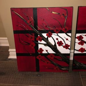 OOAK 4 piece acrylic painting black red gold large